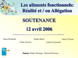 SOUTENANCE - 12 avril 2006