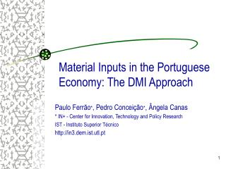 Material Inputs  in  the Portuguese Economy: The DMI Approach