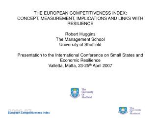 THE EUROPEAN COMPETITIVENESS INDEX: CONCEPT, MEASUREMENT, IMPLICATIONS AND LINKS WITH RESILIENCE
