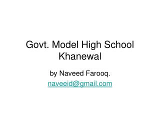 Govt. Model High School Khanewal