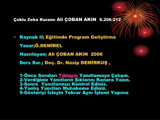 Çoklu Zeka Kuramı  Ali ÇOBAN AKIN S.206-212