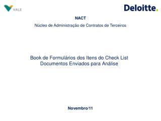 Book de Formulários dos Itens do Check List Documentos Enviados para Análise