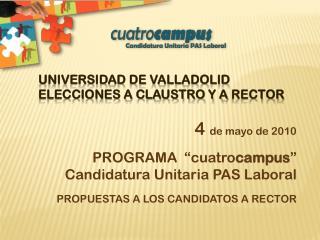 UNIVERSIDAD DE VALLADOLID ELECCIONES A CLAUSTRO Y A  RECTOr