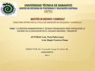 UNIVERSIDAD TÉCNICA DE BABAHOYO CENTRO DE ESTUDIOS DE POSTGRADO Y EDUCACIÓN CONTINUA  CEPEC