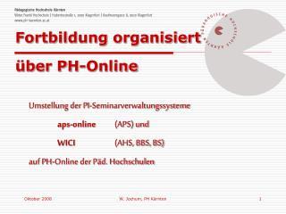 Fortbildung organisiert über PH-Online