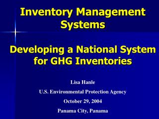 Inventory Management Systems Developing a National System for GHG Inventories