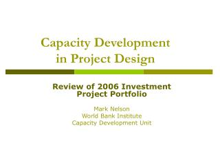 Capacity Development  in Project Design