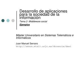 Desarrollo de aplicaciones para la sociedad de la información Tema 2- Middleware social Ejemplos
