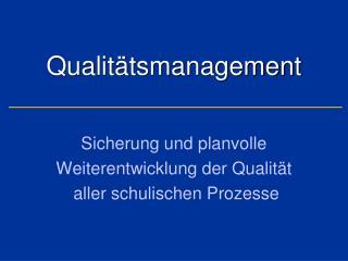 Qualit�tsmanagement