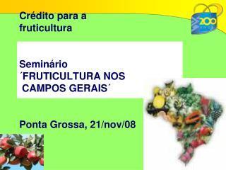 Crédito para a fruticultura Seminário ´FRUTICULTURA NOS  CAMPOS GERAIS´ Ponta Grossa, 21/nov/08