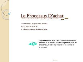 Le Processus D�achat