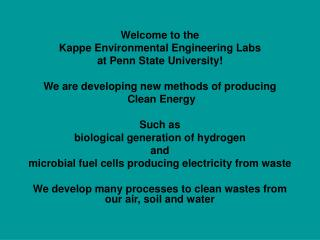 Welcome to the Kappe Environmental Engineering Labs at Penn State University!
