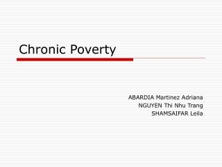 Chronic Poverty