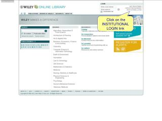 Click on the INSTITUTIONAL LOGIN link