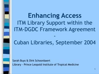 Sarah Buys & Dirk Schoonbaert Library - Prince Leopold Institute of Tropical Medicine