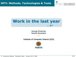 WP5 : Methods, Technologies & Tools