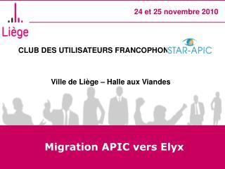 Migration APIC vers Elyx