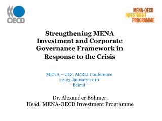 Strengthening MENA Investment and Corporate Governance Framework in Response to the Crisis