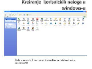 Kreiranje  korisnickih naloga u windows-u