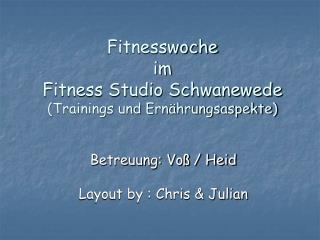 Fitnesswoche im  Fitness Studio Schwanewede (Trainings und Ernährungsaspekte)