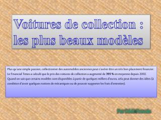 Voitures de collection : les plus beaux modèles