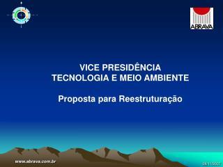 VICE PRESIDÊNCIA TECNOLOGIA E MEIO AMBIENTE Proposta para Reestruturação