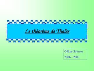 Le théorème de Thalès