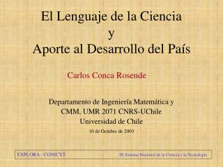 El Lenguaje de la Ciencia y Aporte al Desarrollo del País
