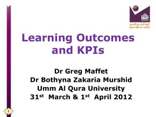 Learning Outcomes  and KPIs