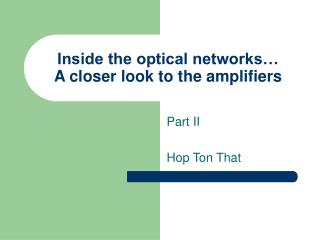 Inside the optical networks  A closer look to the amplifiers