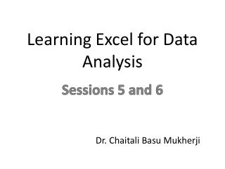 Learning Excel for Data Analysis