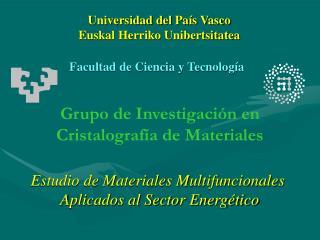 Grupo de Investigación en  Cristalografía de Materiales
