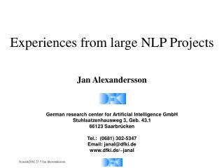 Experiences from large NLP Projects