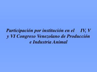 IV Congreso Venezolano de Zootecnia (1985)
