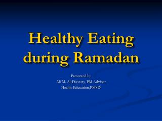 Healthy Eating during Ramadan