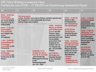 08:00 – 09:00 Uhr Begrüßungs-veranstaltung  für die neuen fünften Klassen in der K.-Helbig-Halle