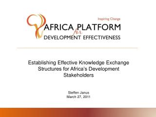 Establishing Effective Knowledge Exchange Structures for Africa's Development Stakeholders