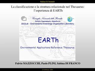 La classificazione e la struttura relazionale nel Thesaurus:  l'esperienza di EARTh