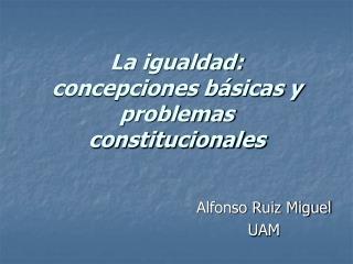 La igualdad: concepciones básicas y problemas  constitucionales