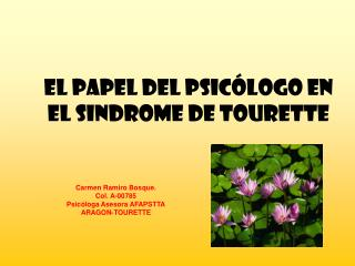EL PAPEL DEL PSICÓLOGO EN EL SINDROME DE TOURETTE