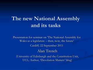 The new National Assembly and its tasks