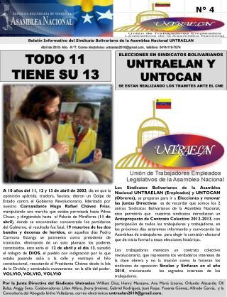 Boletín Informativo del Sindicato Bolivariano de la Asamblea Nacional UNTRAELAN