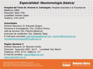 Especialidad: Neumonolog�a (b�sica)