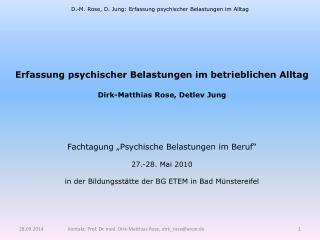 D.-M. Rose, D. Jung: Erfassung psychischer Belastungen im Alltag