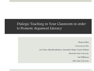 Dialogic Teaching in Your Classroom in order to Promote Argument Literacy