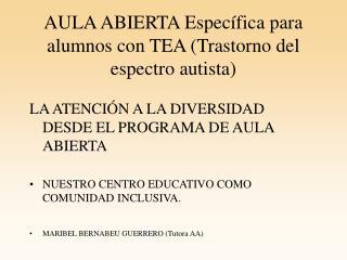 AULA ABIERTA Específica para alumnos con TEA (Trastorno del espectro autista)