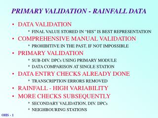 PRIMARY VALIDATION - RAINFALL DATA