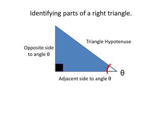 Identifying parts of a right triangle.