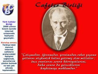 Türk Cafeler Birliği  2000 yılının kasım ayında internet ortamında faaliyete geçmiştir.