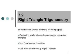 7.2  Right Triangle Trigonometry